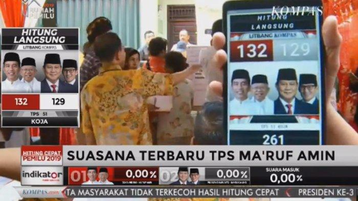 BREAKING NEWS - Suara Prabowo-Sandiaga di TPS Maruf Amin Hanya Selisih 3 Angka, Jokowi-Maruf Menang