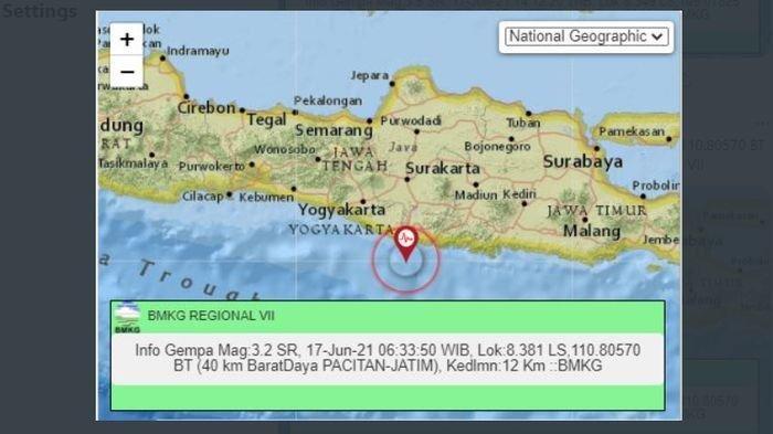 Kamis (17/6/2021) pukul 06:33:50 WIB, gempa bumi ringan menggoyang Pacitan, Jawa Timur.