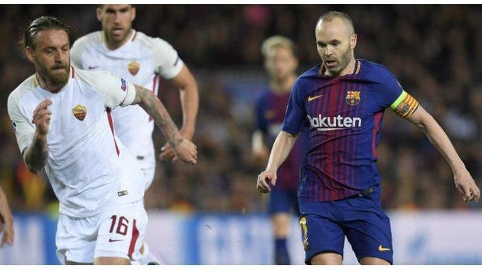 Kapten Barcelona, Andres Iniesta, dalam laga Liga Champions kontra AS Roma di Camp Nou, Rabu (4/4/2018).