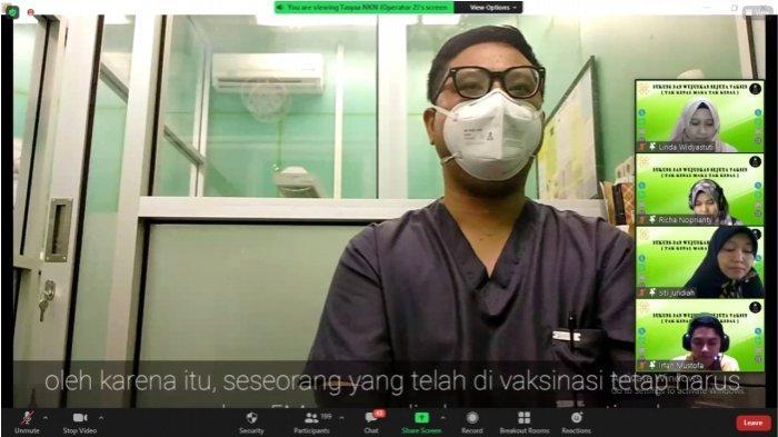 tangkap layar pemaparan Video edukasi vaksinasi Covid-19 oleh Dokter Rizki