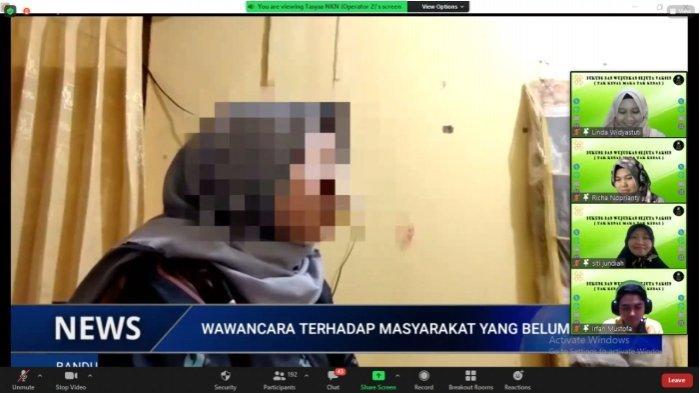 tangkap layar pemaparan Video wawancara terhadap masyarakat yang belum divaskin