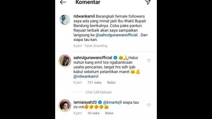 Sahrul Gunawan komentar di Instagram Ridwan Kamil.