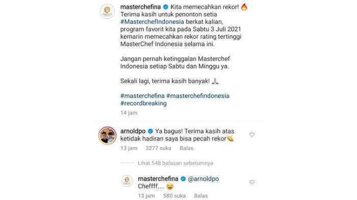 Komentar Chef Arnold di akun MasterChef