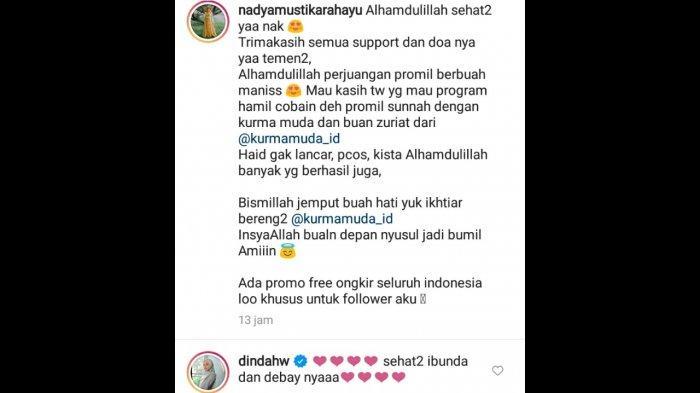 Komentar Dinda Hauw di postingan Nadya Mustika Rahayu.