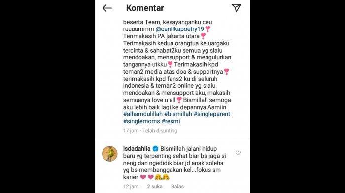 Iis Dahlia berikan komentar nasihat di postingan Nita Thalia.
