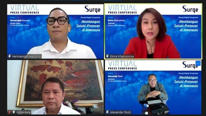 """Konferensi Pers Virtual berjudul """"Sinergi Digital Ecosystem Membangun Solusi-preneur di Indonesia """" di Jakarta, yang dipandu oleh moderator Elvira Khairunnisa, Kamis, (17/12/2020)."""