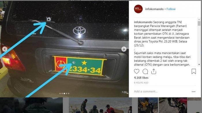 Letkol Dono Kuspriyanto yang Tewas di Dalam Mobil Dinas Ternyata Ditembak oleh Sesama Anggota TNI