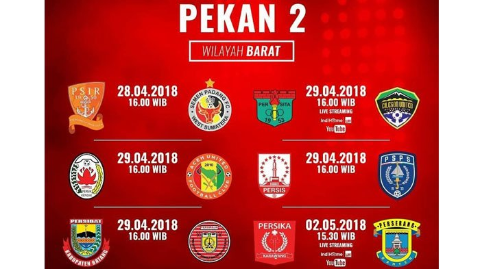 Ini Jadwal Lengkap Pertandingan Pekan Kedua Liga 2 2018, Catat ya!