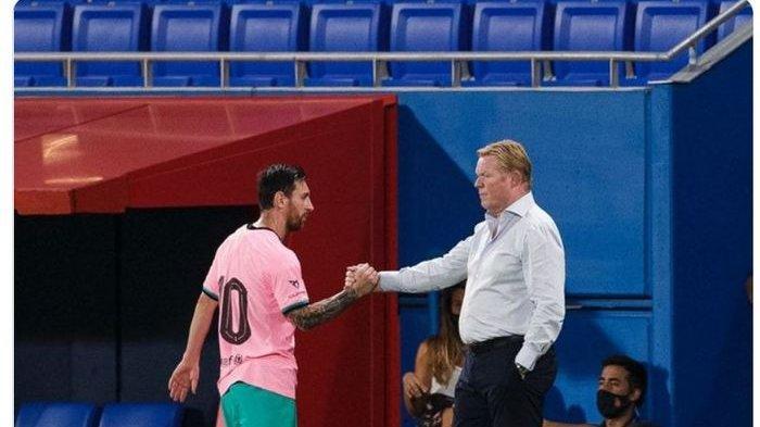 Ronald Koeman dan Lionel Messi bersalaman saat Barcelona saat Blaugrana menang 3-1 atas Girona dalam laga persahabatan di Stadion Johan Cruyff, Rabu (16/9/2020) waktu setempat atau Kamis dini hari WIB.