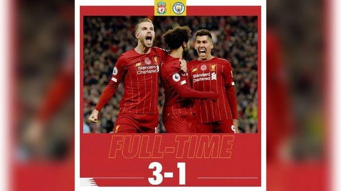 Liverpool kalahkan Manchester City 3-1.