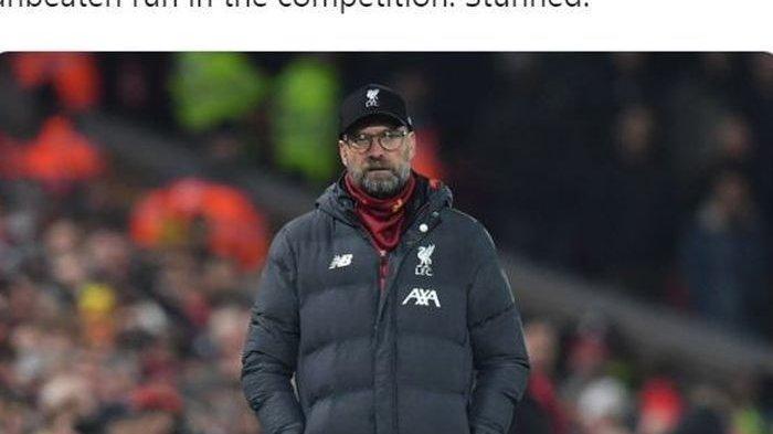 Ekspresi pelatih Liverpool, Juergen Klopp, dalam laga Liga Inggris kontra Watford di Stadion Vicarage Road, Sabtu (29/2/2020).