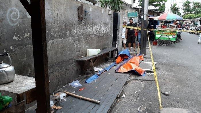 Lokasi penemuan potongan kaki manusia di Jalan Pedurenan Masjid Raya, Setiabudi, Jakarta Selatan, Senin (22/3/2021).