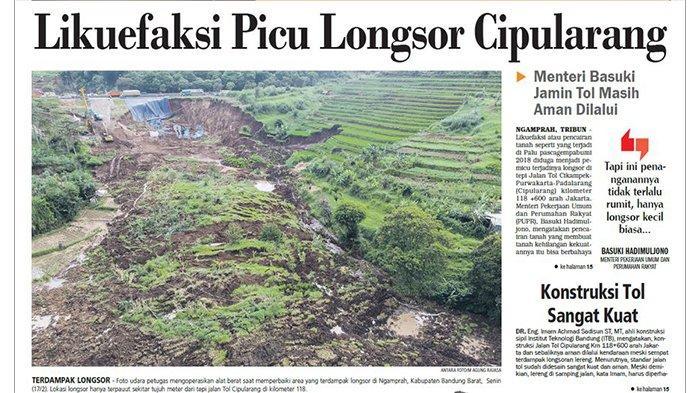 Likuefaksi Picu Longsor di Tol Cipularang, Menteri Basuki Hadimuljono Jamin Tol Masih Aman Dilalui