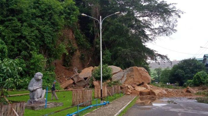 Tebing di Area PLTA PJT II Longsor, Batu-batu Besar Berjatuhan Hingga Jalan Ditutup Sementara