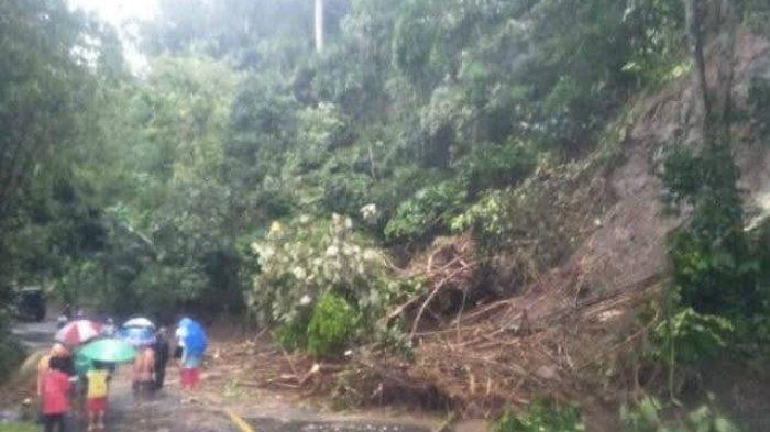 Longsoran Tebing Timbun Jalan Raya Ciamis-Cirebon di Panawangan, Saluran Irigasi di Atasnya Meluap