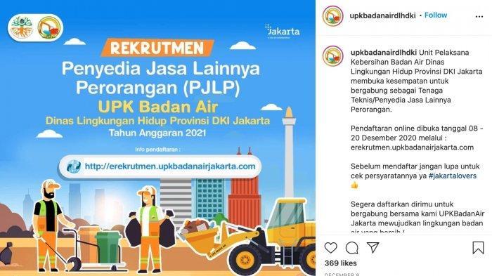 LOWONGAN KERJA di UPK Badan Air Dinas Lingkungan Hidup DKI Jakarta untuk Lulusan SD/SMP/SMA/SMK