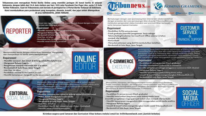 Info Lowongan Pekerjaan di Tribunnews, Ingin Tantangan Ayo Bergabung Bersama Kami!