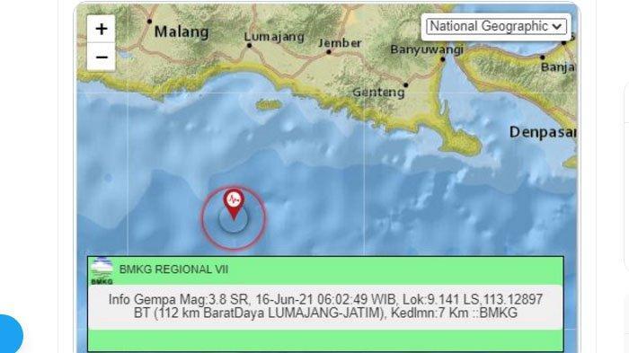 Lumajang Jawa Timur Baru Saja Dilanda Gempa Pagi Ini, Pusat Lindu Jauh Nun di Laut Selatan