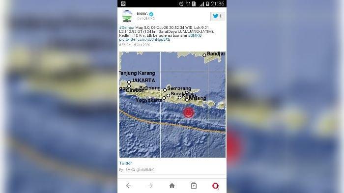 Unggahan Twitter BMKG mengenai gempa bumi di Lumajang.
