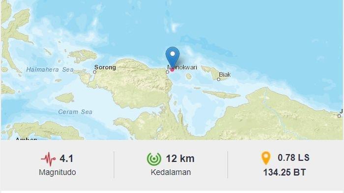 Malam ini, gempa bumi bermagnitudo 4.1 melanda Manokwari, Papua, Kamis (17/6/2021).