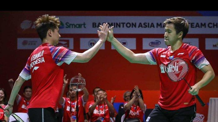 Mohammad Ahsan/Fajar Alfian Menang, Indonesia Hat-trick Juara Badminton Asia Team Championships