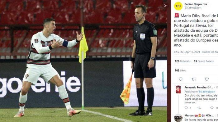 Anulir Gol Cristiano Ronaldo, Asisten Wasit Laga Serbia vs Portugal Dipecat