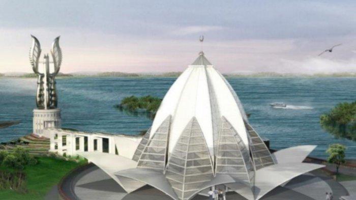 Ini Penampakan Desain Masjid Bentuk Bunga Teratai dan Menara Kujang,  Bisa Lihat Waduk Dari Menara
