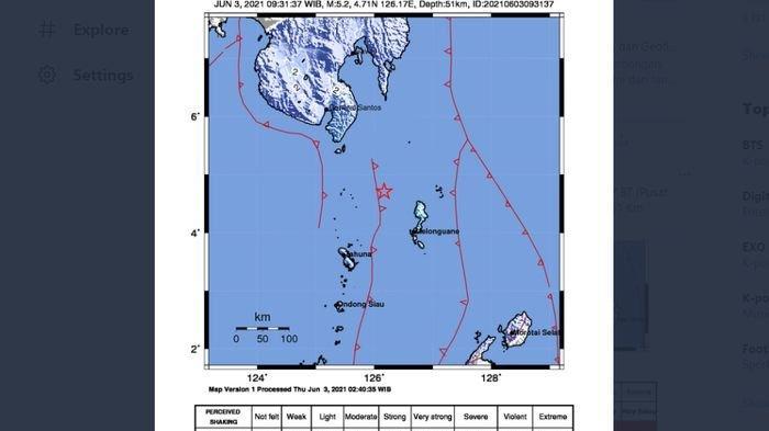 Menjelang Siang, Gempa Bumi 5.2 Magnitudo Melanda Melonguane Sulut, BMKG Catat 3 Kali Gempa Hari Ini