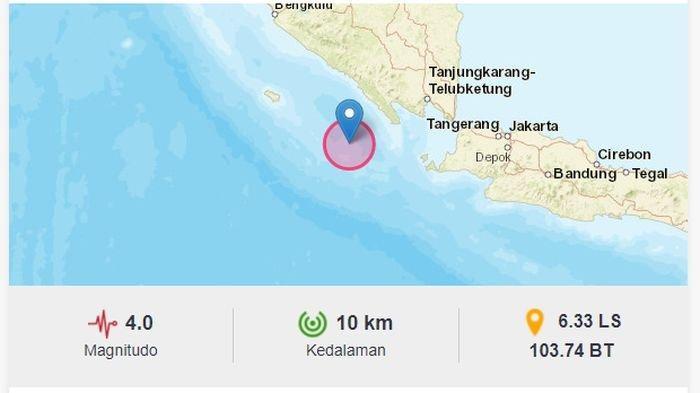 Menjelang Malam Barusan, Gempa Melanda Pesisir Barat Lampung, BMKG Sebut Berpusat di Laut