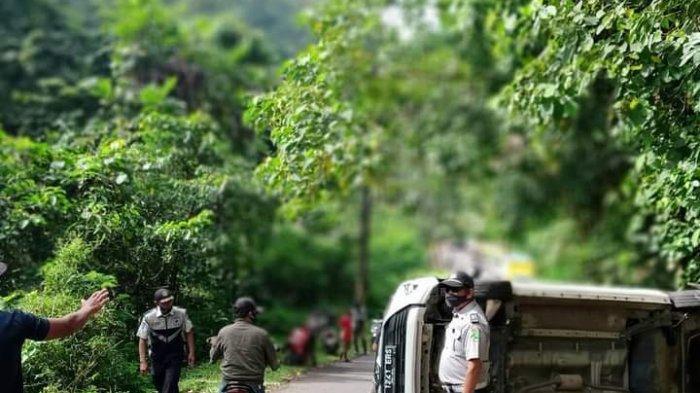 Tak Kuat Nanjak, Mobil Pelat B Terguling di Tanjakan Cisarakan Palabuhanratu, Ini Kondisi Penumpang