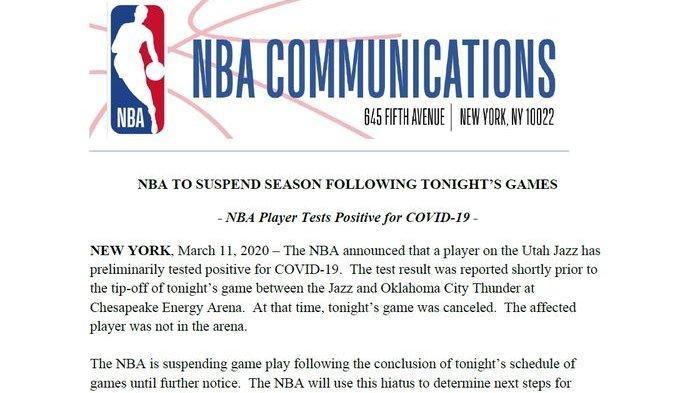 Ada Pemain Terinfeksi Virus Corona, NBA Hentikan Musim 2020 Sementara