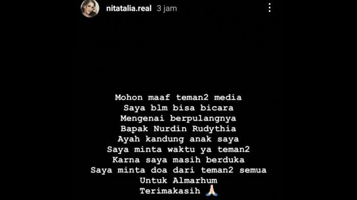 Nita Thalia bicara soal mantan suami meninggal