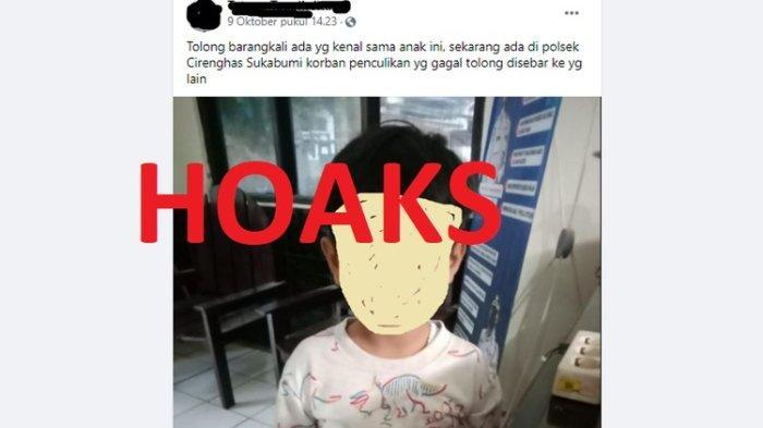 Viral di Medsos Foto Anak Disebut Korban Penculikan di Sukabumi, Benar atau Hoaks? Ini Penjelasannya