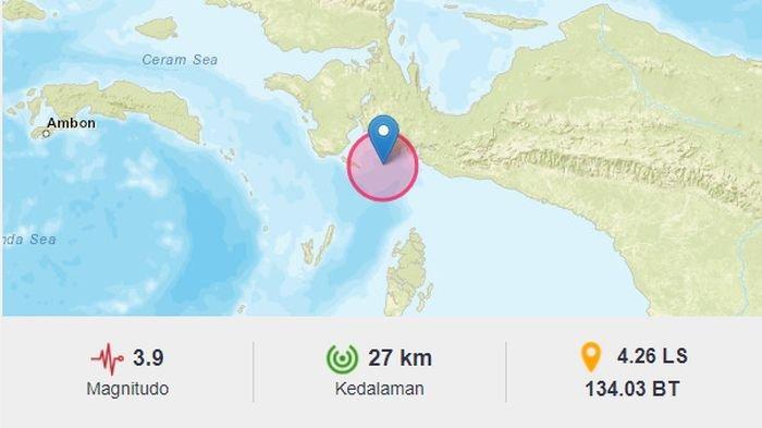 Minggu Pagi Ini, Gempa Bumi Melanda Kaimana Papua Barat, BMKG: Berpusat di Laut di Kedalaman 27 Km