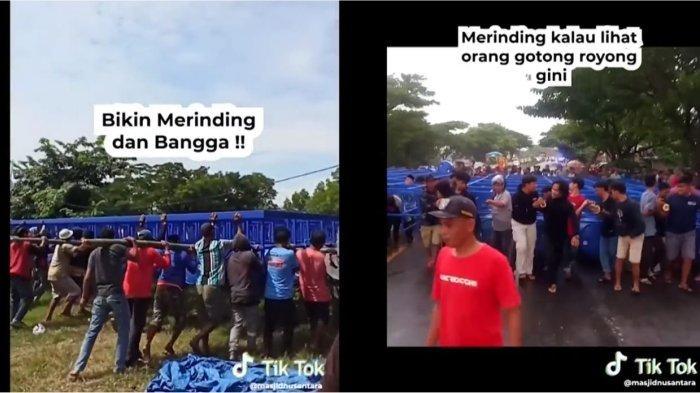 Viral Video Gotong Royong Warga Mengangkat Fondasi Masjid Terapung, Bikin Warganet Haru dan Bangga