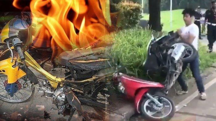 Aksi Nekat Pemuda Bakar Motor Sendiri Setelah Ditanya STNK oleh Polisi dan Bicara kepada Orang Tua