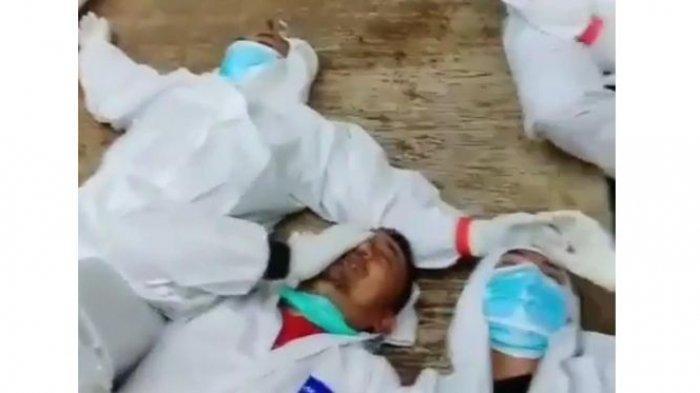 VIRAL, Video Petugas Pemakaman Tertidur Pakai APD Ternyata Berlokasi di Ciamis, Ini Faktanya