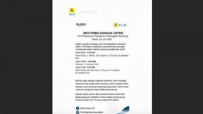 JANGAN KAGET LISTRIK PADAM, Ini Jadwal Pemadaman Listrik PLN di Bandung Kamis 25 Juni, Ini Lokasinya