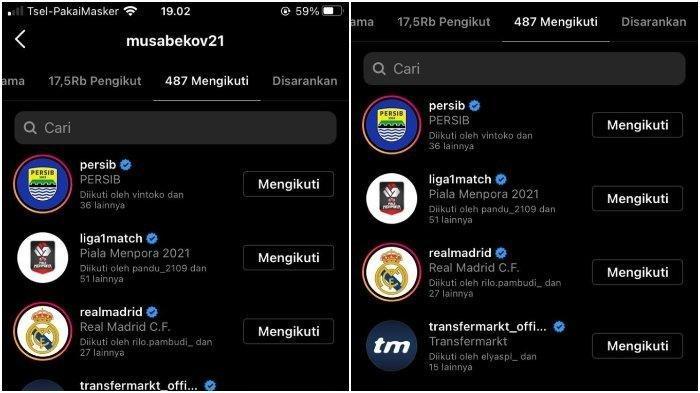 Pemain asal Kyrgyzstan, Farkhat Musabekov sudah mengikuti akun Instagram Persib Bandung dan Liga 1.