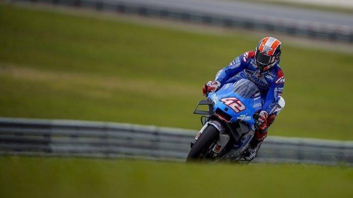 Pembalap Suzuki Ecstar Alex Rins di tes pramusim MotoGP 2020 di Sirkuit Sepang, Malaysia.