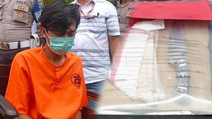 Pria Tuban bernama Refi Purnomo selaku pembunuh gadis Bandung ditembak di bagian kaki dua kali oleh polisi. Foto kanan : pisau yang digunakan untuk membunuh M setelah berhubungan badan dengan pelaku.