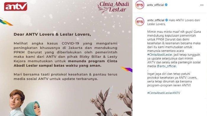 postingan ANTV pengumuman acara pengajian dan pesta lepas bujang Rizky Billar ditunda