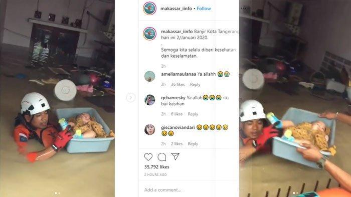 Detik-detik Evakuasi Bayi Disimpan di dalam Baskom, Ketinggian Banjir Hampir Setara Tinggi Pintu