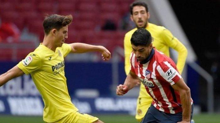 Penyerang Atletico Madrid, Luis Suarez, beraksi pada laga kontra Villarreal, Sabtu (3/10/2020) dini hari WIB.