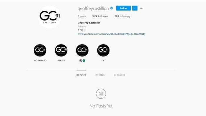 Tampilan akun Instagram penyerang Persib Bandung Geoffrey Castillion, Minggu (8/8/2021). Unggahan mengenai Persib Bandung di akun tersebut kini lenyap.