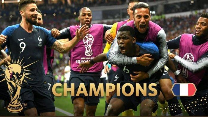 Perancis Jadi Kampiun Piala Dunia 2018, Tumbangkan Kroasia 4-2 di Laga Final