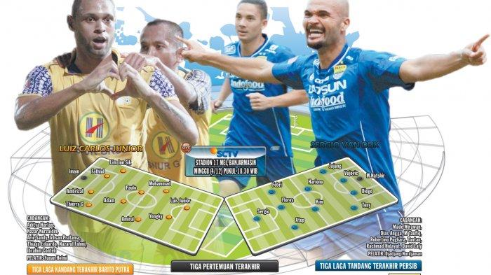 Rekor Pertemuan Persib Bandung vs Barito Putera, Persib Mendominasi Skor Pertandingan Lawan Barito