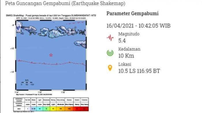 Siang Ini, Gempa Bumi Bermagnitudo 5.4 Guncang Sumbawa Barat, Getarannya Sampai Denpasar