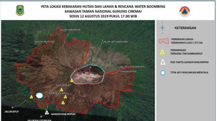 Satu Titik Api Kebakaran di Gunung Ciremai Belum Teratasi, Pemadaman Menggunakan Heli Tak Efektif