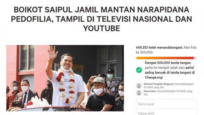 Dilihat Tribunjabar.id pada Selasa (7/9/2021) pukul 11.30 WIB, petisi boikot Saipul Jamil di TV dan YouTube sudah ditandatangani sebanyak 469 ribuan kali.
